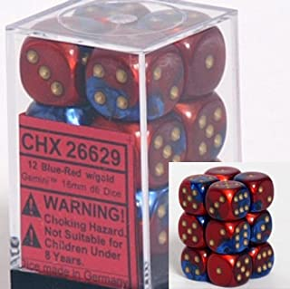 Chessex Dice d6 Sets: Gemini Blue & Red with Gold - 16mm Six Sided Die (12) Block of Dice