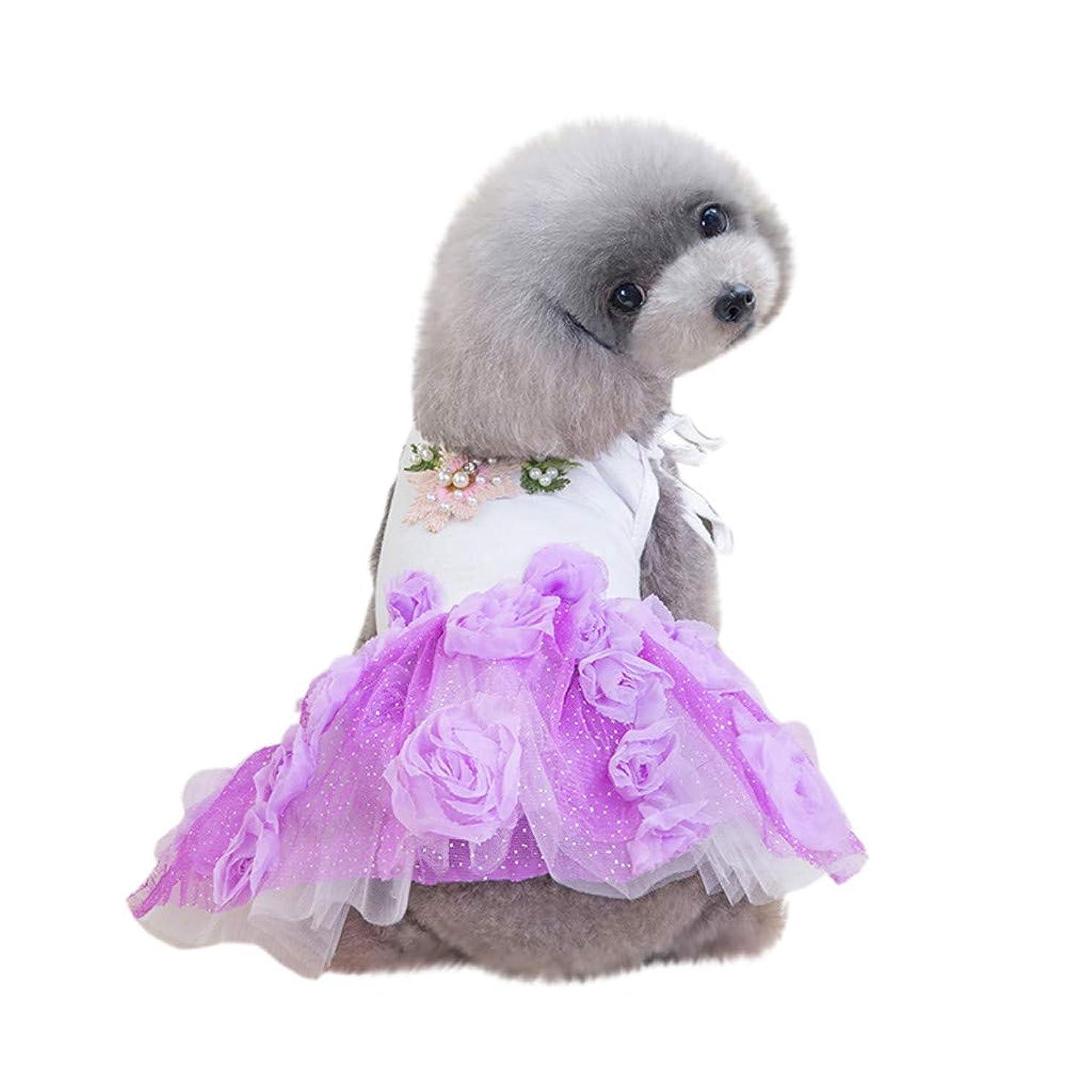 十年スキー時代[Tienpy] ペット犬猫ローズフラワープリントワンピース蝶結びチュチュ スカート可愛い犬 柔らかい ドレス 日焼き防 通気性 上着