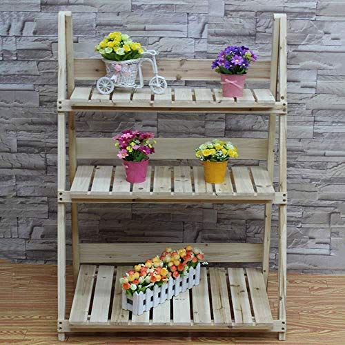 Plant Stand JT- Support de pot de fleurs pliable 3 étages en bois pour jardin, échelle de présentation, parfait pour la maison, le jardin, la terrasse (couleur : D, taille : L)