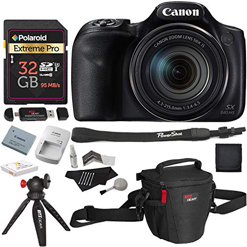 Canon PowerShot SX540 HS with 50x Optical Zoom and Built-in Wi-Fi, Polaroid 32 GB U3 Memory Card, Tripod, Spare Battery, Camera Bag and Accessory Bundle