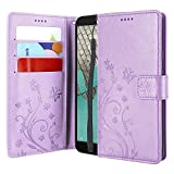 Lacass Floral Butterfly PU Leather Flip Wallet Case Cover Kickstand with Card Slots and Wrist Strap for Wiko Ride U300 / Cricket Icon/ATT Radiant Core U304AA (Light Purple)