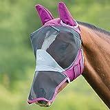Shires - Maschera anti mosche per cavallo, deluxe, copre orecchie e naso, Burgundy, Pony