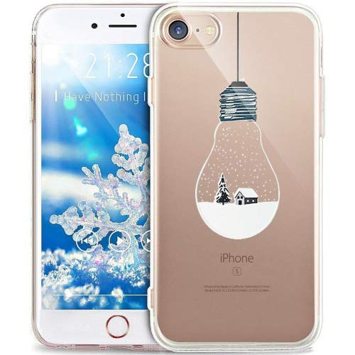 Cover iPhone 8 Plus,Cover iPhone 7 Plus,ikasus Serie pittura natalizia fiocco neve Snowflake Trasparente Morbida TPU Silicone Gel Custodia Case Cover per iPhone 8 Plus/7 Plus,Bulbo Paesaggio Neve