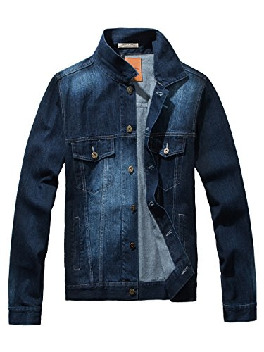 DAVID.ANN Men's Denim Jacket Slim Fit Trucker Coat,Dark Blue,Medium