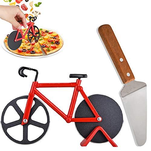Fahrrad Pizzaschneider Rad, Räder Dual Edelstahl Klingen für zu Hause, Coole Küche Gadget: Pizzaschneider + Pizzaschieber (Rotes Set)