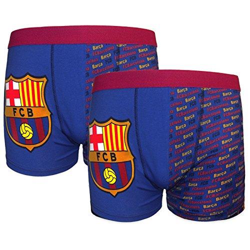 FC Barcelona - Jungen Boxershorts mit Vereinswappen - Offizielles Merchandise - Geschenk für Fußballfans - 2 Paar - Blau - 5-6Jahre