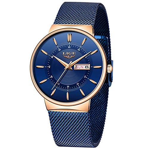 LIGE Hombres Relojes Moda Deportes Reloj de Cuarzo analógico Hombres Cronógrafo a Prueba de Agua Correa de Malla Azul Reloj de Pulsera para Hombre de Negocios