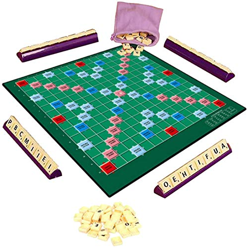 Scrabble Board Game,Letter Matching Word Games for Kids Adults, Fun Families Vocabulary Challenge Game Early Educational Toy, Original Spelling Games for Children Boys Girls (A)