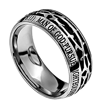 Spirit & Truth Man of GOD Christian Mens Stainless Steel 10mm Abstinence Crown of Thorns 1 Timothy 6 11 Comfort Fit Chasity Ring - Guys Purity Ring  8