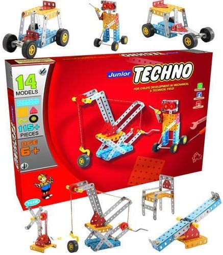 nabhya junior techno - engineering toy kit - educational toy - building blocks and models construction set (age 5 to ...