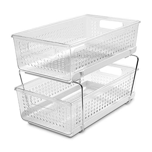 madesmart Large 2-Tier Organizer without Dividers - Clear | BATH COLLECTION | Slide-out Baskets with Handles | Space Saving | Multi-purpose Storage | BPA-Free