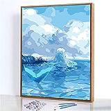 GJJHR DIY Pintura por Números Kits,Sirena Azul en el mar Pintada a Mano Pintura al óLeo Digital, DecoracióN del Hogar Regalo - 40x50cm(Marco de Fotos)