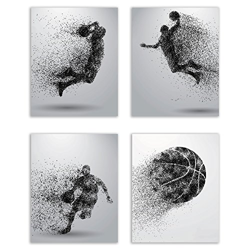Basketball Wall Art Prints - Particle Silhouette  Set of 4 (8x10) Poster Photos - Bedroom - Man Cave Decor