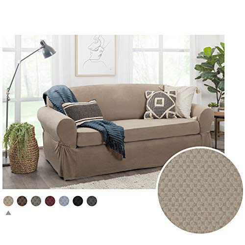 MAYTEX Pixel Stretch 2-Piece Sofa Furniture Cover/Slipcover, Sand
