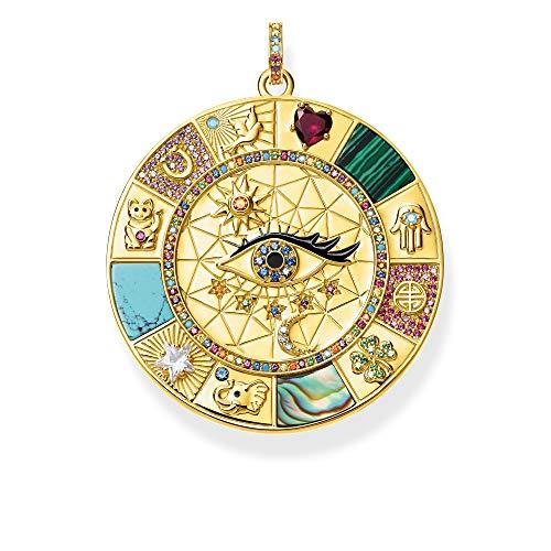 THOMAS SABO Damen Anhänger Amulett magische Glückssymbole 925 Sterlingsilber, 750 Gelbgold Vergoldung, Kaltemail PE855-993-7