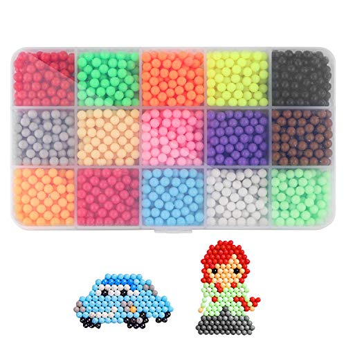 Water Spray Beads Set Water Sticky Beads,15 Colors 2400 Sticky Beads, DIY Pegboard and Full Set Accessories Fun Craft Beads for Kids Magic Water Sticky Beads DIY Art Crafts Toys for Kids