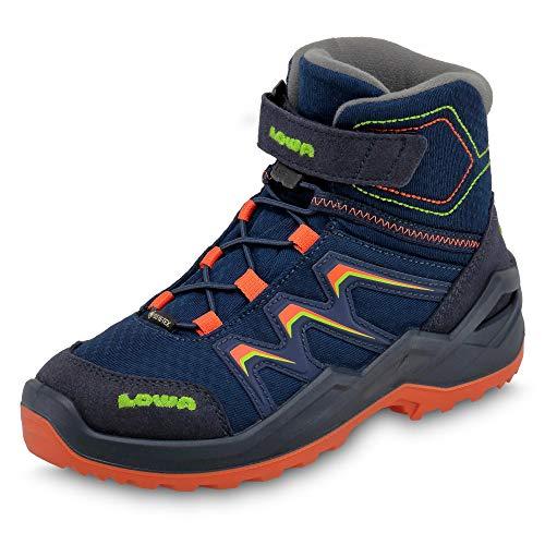 Lowa Maddox Warm GTX 36-40 Chaussures d'hiver en Gore-Tex pour enfant Bleu marine/orange Taille EU 37