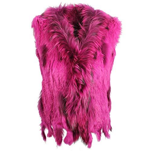 Glamexx24 Damen Weste Echtfell in Combi Farbe Fellweste Kaninchen Hasenfell