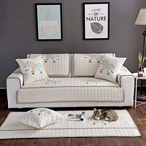 Funda de sofá, funda de sofá, fundas de sofá de sección, funda de sofá de algodón para perros, gatos, asiento de amor para mascotas, reclinable de cuero en forma de L-Blanquecino-90x240cm(35x95inch)
