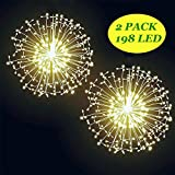 Halloween Decorations, DIY Bouquet Firework Light-198LED Waterproof Hanging Copper Wear Lights with 8 Modes Remote Control, Christmas Lights for Outdoor Garden Festival Decor(Warm Yellow, Battery)