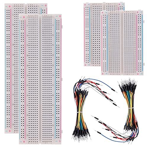 BOJACK 3 valores 130 piezas de placa de pruebas sin soldadura 4 piezas MB-102830 puntos de conexión y 400 puntos de conexión y 126 piezas de cables de puente flexibles para placa de pruebas