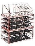 ZHIAI Makeup Organizer Acrylic Cosmetic Storage Drawers and Jewelry Display Box Transparent (Style B(Pink Diamond): 1 Top, 2 Small, 3 Large, 1 XLarge Drawers)