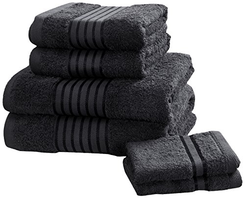 Rapport Windsor–Set di Asciugamani, 100% Cotone–Nero