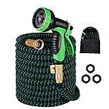 ERKOON Flexibler Gartenschlauch 100FT/30m Flexischlauch Wasserschlauch, aus Messing Aufhänger Bewässerung Gartenarbeit Autowäsche, für Garten Rasen Pet Dusche