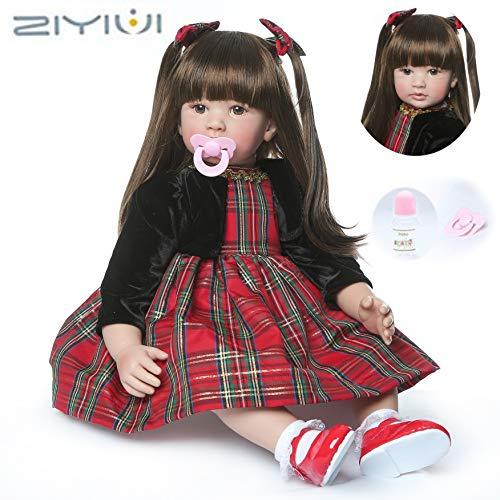 ZIYIUI Reborn Baby-Puppe 24''/60cm Simulation Reborn Babys Mädchen Weiche Vinyl Silikon Lebensechte Babypuppen Magnetisch Mund Reborn Toddler Spielzeug Geschenk