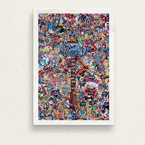 KWzEQ Cartoon Held Film Nordic Poster Kinderzimmer Dekoration Wandkunst Malerei Poster,Rahmenlose Malerei,60X90cm