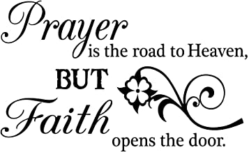 Imposing Design Prayer is The Road to Heaven 23 X 14 Religious Wall Quote Vinyl Decal Sticker Corinthians Calligraphy Art Decor Motivational Inspirational Decorative Lettering