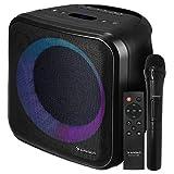 SUNSTECH Muscle Cube. Altavoz 20 W, iluminación LED, Bluetooth 5.0, Radio FM, USB, Micro SD, aux-in, aux-out. Conexiones Guitarra y micrófono. Mando a Distancia y micrófono incluidos. Color Negro
