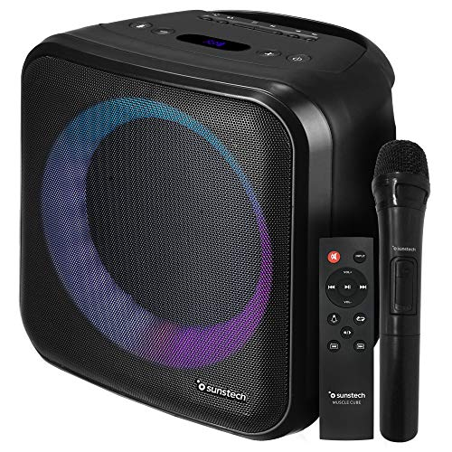 SUNSTECH Muscle Cube. Altavoz 20 W, iluminación LED, Bluetooth 5.0, Radio FM, USB, Micro SD, aux-in, aux-out. Conexiones Guitarra y...