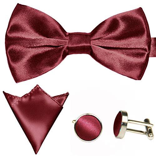 GASSANI 3Tlg Fliegenset, Wein-Rote Herren-Fliege, Hochzeitsfliege Ein-Stecktuch Manschettenknöpfe, Anzug-Schleife Vor-Gebunden Verstellbar