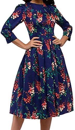 Simple Flavor Women s Floral Vintage Dress Elegant Autumn Midi Evening Dress 3 4 Sleeves Navy product image