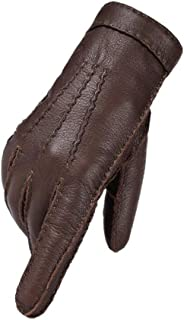 Men's Leather Gloves, Outdoor Driving, Wool Lining, Warm And Windproof