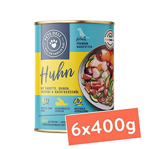 Hundefutter nass 2,4 kg - 6er-Pack | Huhn mit Karotte, Quinoa, Zucchini und Nachtkerzenöl