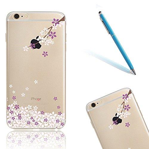 CLTPY Trasparente Cover per iPhone 7, Copertura Flower Animal Modello Design Ultra Slim Fit Morbida Anti-Graffio per iPhone 7 + 1x Stilo - Porpora Fiori