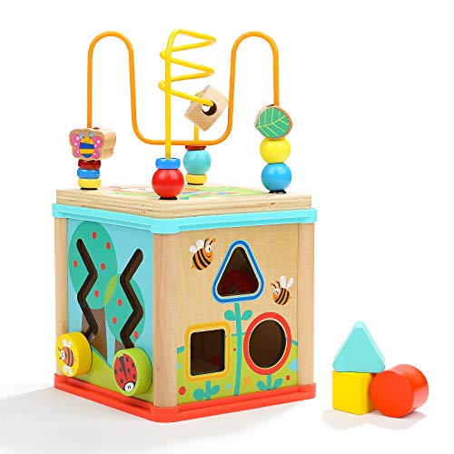 TOP BRIGHT Activity Cube Wooden Toys for One Year Old Girl and Boy Gifts Bead Maze Shape Sorter Small Size