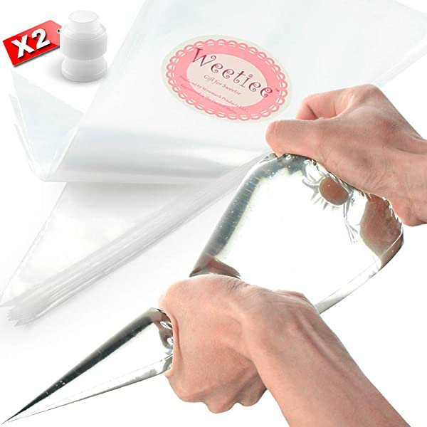 Weetiee Pastry Piping Bags 100 Pack 16 Inch Disposable Cake Decorating Bags Anti Burst Cupcake Icing Bags For All Size Tips Couplers And Baking Cookies Candy Supplies Kits Bonus 2 Couplers