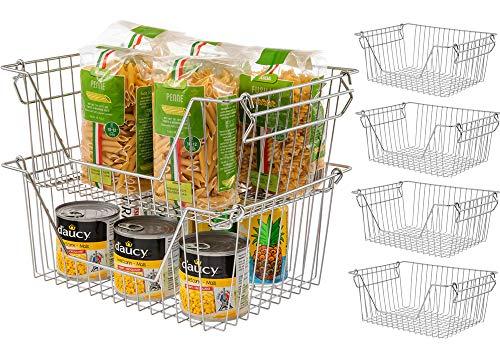 SANNO Stackable Storage Baskets Cabinet Organizer Sturdy Metal Wire Pantry Bin for Home Bathroom Kitchen Organization set of 4