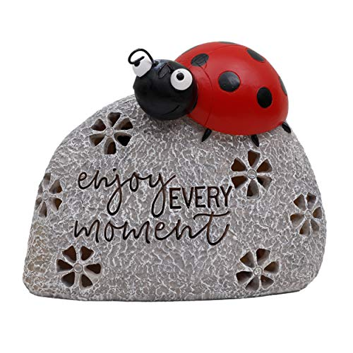 TERESA'S COLLECTIONS Solar Garden Ornaments Outdoor, 16.5cm Stone and Ladybug Garden Statue, Waterproof Resin Dwelling Ornament with LED Lights for Yard Lawn Christmas Decorations and Gift