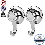 BathBeyond Suction Cup Hooks (2Pack) - Powerful Vacuum Suction Cup Hooks Heavy Duty Organizer for Kitchen, Bathroom, Restroom, Shower, RV Up to 4 LBS (2)