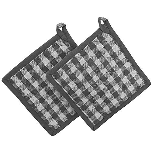 KUTEX Set di 2 presine da Cucina per Cottura Cucina in 100% Cotone Quadri (Quadri Grigio, 2)