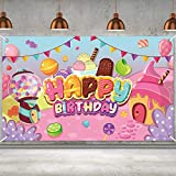 Candyland Birthday Party Decorations Donut Ice Cream Birthday Banner Backdrop Large Sweet Candy Happy Birthday Yard Sign backgroud Candy Themed Birthday Party Indoor Outdoor Car Decorations Supplies