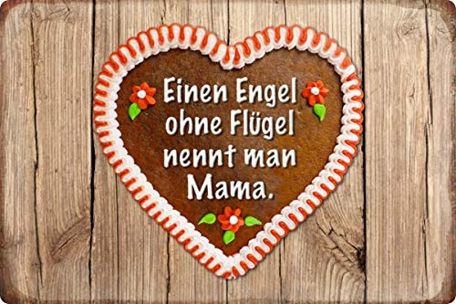 Metalen bord 30x20cm Mama Engel zonder vleugels Humor Spreuk metalen bord