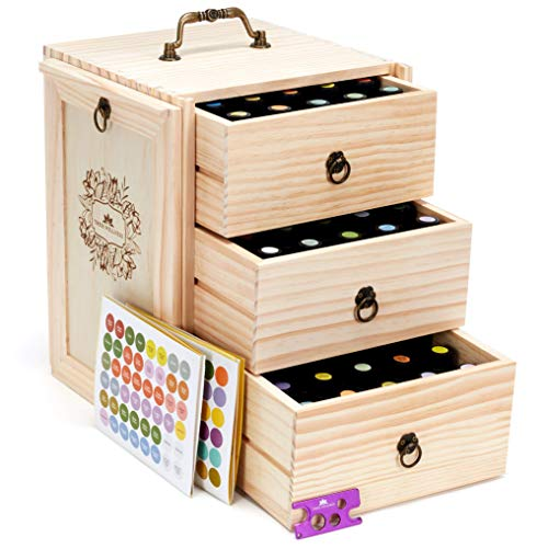 Wooden Essential Oil Storage Box - 10 15 20 ml fits - Holds 75 bottles - New premium quality