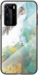Miagon - Funda de cristal para móvil, diseño de mármol Huawei P40 Mármol y paloma.
