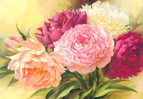 DIY 5D Round Diamond Painting Kits for Adults Paiting by Number Kit, Full Drill Peony Flowers Rhinestone Embroidery Cross Stitch Supply Arts Craft Canvas Wall Decor 30x40cm