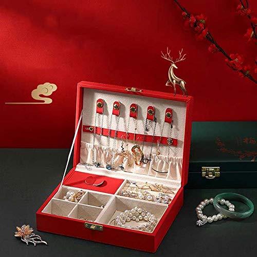 MUY Nueva Caja de joyería de Cuero de Alta Capacidad, Gran Espacio, Pendientes, Caja de Almacenamiento de Adornos, joyería de Viaje, Regalos multifunción para Mujeres